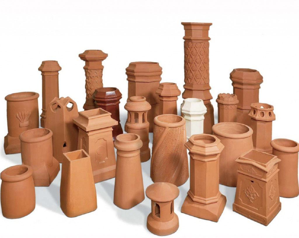 Different models of clay chimney pots.